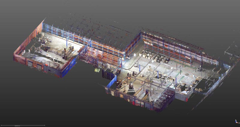 INDUSTRIAL PROPERTY JHB: a warehouse interior is scanned to photographic quality to record current condition on new tenant occupation. 2D plans sections and elevations created from 3D point cloud